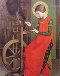 St. Elisabeth of Hungary spinning wool for the poor